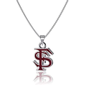 Dayna Designs NC State University Heart Necklace Sterling Silver Jewelry Small for Women//Girls Wolfpack Block S Logo