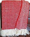Johannisbeer rot - cremefarbene Zickzack Wolldecke 100prozent Schurwolle aus Neuseeland, Schurwollplaid mit Fransen 140x200cm, Decke Wolle, Wohndecke, Kuscheldecke, Tagesdecke, Sofadecke (rot Zickzack)