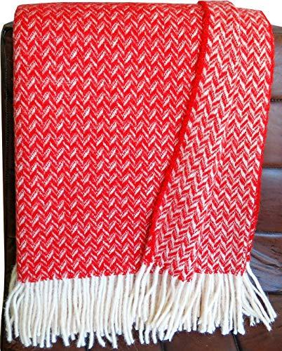 Johannisbeer rot - cremefarbene Zickzack Wolldecke 100% Schurwolle aus Neuseeland, Schurwollplaid mit Fransen 140x200cm, Decke Wolle, Wohndecke, Kuscheldecke, Tagesdecke, Sofadecke (rot Zickzack)