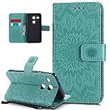 Kompatibel mit LG Nexus 5X Hülle,LG Nexus 5X Schutzhülle,Prägung Mandala Blumen Sonnenblume PU Lederhülle Flip Hülle Cover Schale Ständer Etui Wallet Tasche Hülle Schutzhülle für LG Nexus 5X,Grün