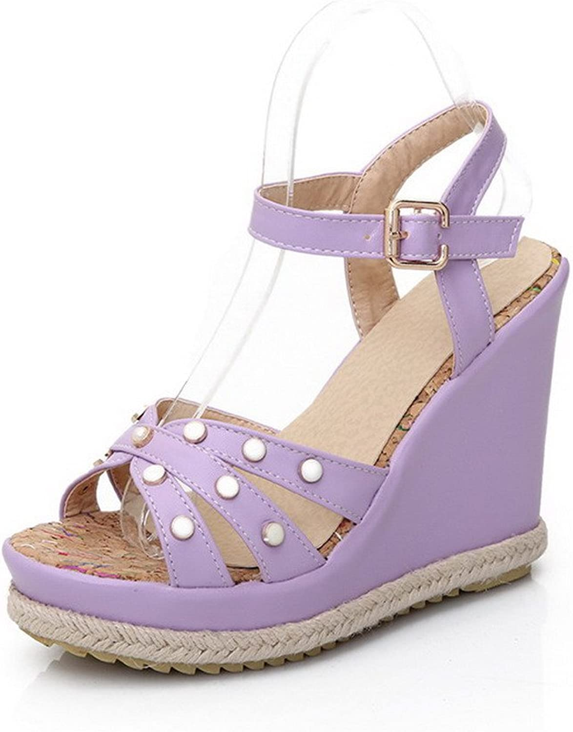 AmoonyFashion Women's Soft Leather Buckle Open Toe High Heels Solid Sandals