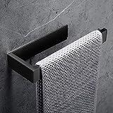 Lolypot Portasciugamani da parete Portasalviette senza foratura acciaio inox autoadesivo cromato bagno da Porta Asciugamano Accessori per il Bagno (Senza foratura, Nero)