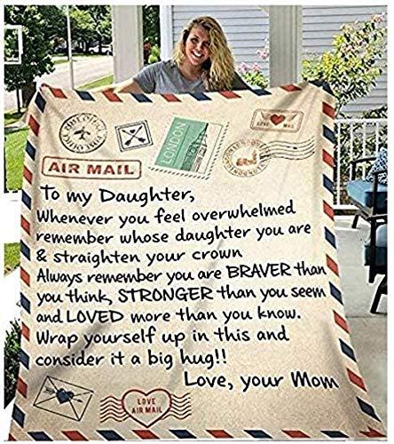 KOP Manta de forro polar con texto en inglés 'To My Daughter Letter Print' para mamá para hija, manta de franela, regalo de 150 x 100 cm