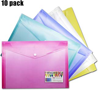 Umriox A4 Plastic Wallets Poly Envelopes, 10 Pack Clear Document Folders US Letter Size File Envelopes with Snap Button & Label Pocket for School Home Work Office Organization