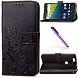 Huawei Nexus 6P Case, Google Nexus 6P Case LEECOCO Embossed Lucky Clover Floral with Card Cash Slots Magnetic Folio Flip Kickstand PU Leather Wallet Case Cover for Huawei Nexus 6P Clover Black