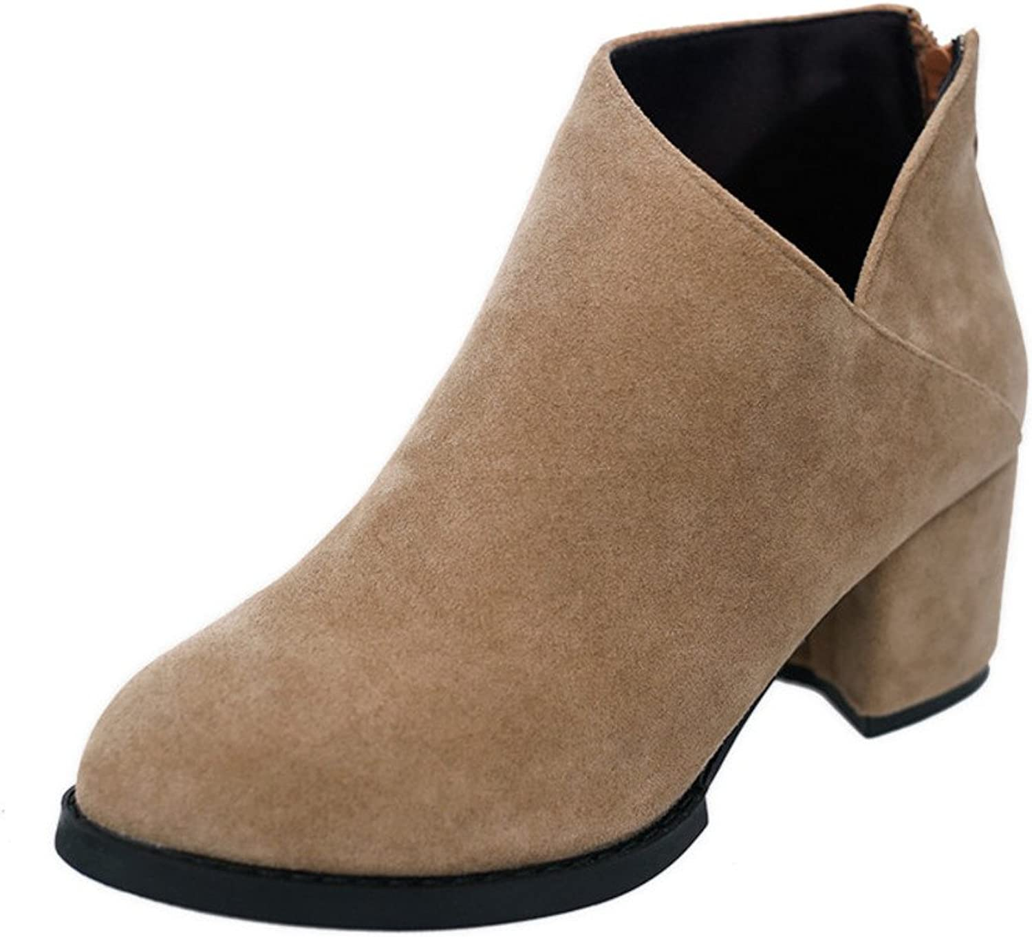 Spring shoes Short Boots Nude Boots Martin Boots Rough Suede Zip high Heels Women's shoes