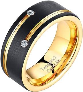 خواتم التنجستين من Newshe للرجال خواتم زفاف له مكعب زركونيا أسود ذهبي مطفي مقاس 9-13