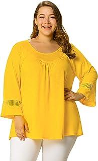 Agnes Orinda Women's Plus Size Crochet Panel Kimono Raglan Sleeves Ruched Front Top Yellow 3X