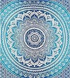Tapicería Hippie Mandala Bohemia Tapices Psicodélicos tapices de pared Decoración de dormitorio Pintura Colcha India tapices de Picnic y playa (azul)