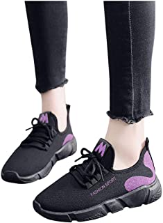 Women Sport Shoes,Ladies Casual Anti-Slip Sport Walking Sneakers Loafers Soft Shoes Lace Up with Platform Running Shoes