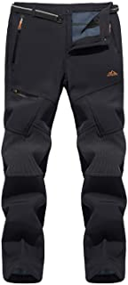TACVASEN Men's Pants-Thick and Thin Skiing Hiking Fleece Lined Reinforced Knees Softshell Pants (No Belt)