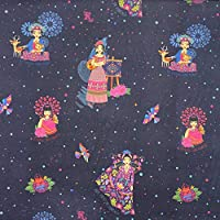 Kt KILOtela Tela viella Estampada Digital - 100% Viscosa sanforizada - Retal de 100 cm Largo x 150 cm Ancho | Frida Kahlo - Azul, Multicolor ─ 1 Metro