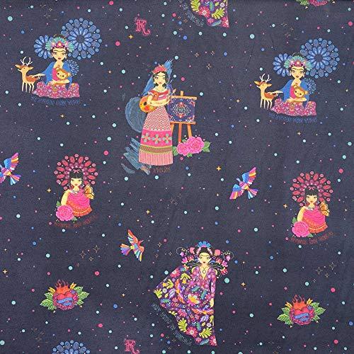 Kt KILOtela Tela viella Estampada Digital - 100% Viscosa sanforizada - 150 cm Ancho - Largo a elección de 50 en 50 cm - para decoración y Ropa de Vestir   Frida Kahlo - Azul, Multicolor