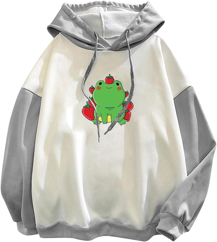 ONHUON Sweatshirts for Women, Womens Teen Girls Colorblock Frog Printed Long Sleeve Hoodie Sweatshirt Casual Blouse Tops