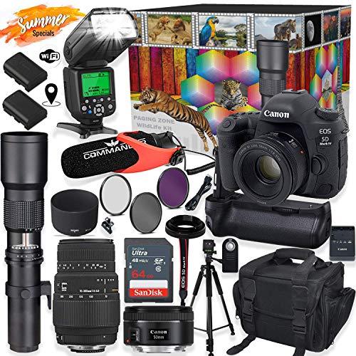 Canon EOS 5D Mark IV DSLR Camera with 50mm f/1.8 & 70-300mm DG Lens + 500mm Preset Telephoto Wildlife Bundle