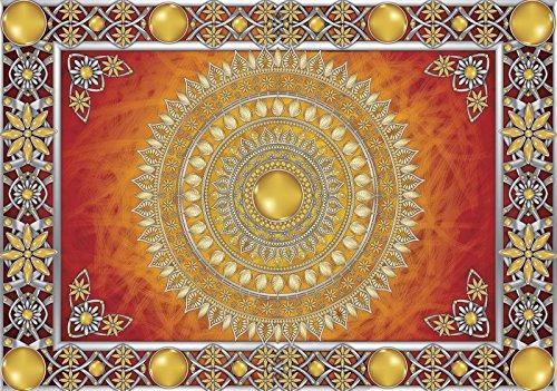 ForWall Fototapete Vlies - Tapete Moderne Wanddeko Goldene und rote Mandala VEXXL (312cm. x 219cm.) AMF10372VEXXL Wandtapete Design Tapete Wohnzimmer Schlafzimmer