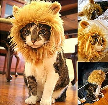 Yunt Perruque crinière de lion avec oreilles pour chien, chat, Halloween Transforme votre animal de compagnie en un lion féroce
