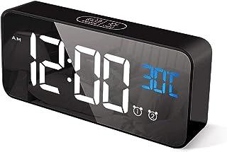 Goeco Sveglia Digitale, LED Sveglia Multifunzionale da Comodino, Orologio a Specchio con Due sveglie, Controllo vocale, lu...