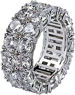 YOFEEL Womens Wide Eternity Ring Wedding Band 18k White Gold or Rose Gold Plated Wide Band Cubic Zirconia Eternity Band Ring
