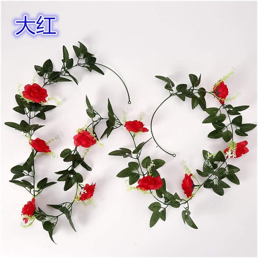 Jun7L Artificial Rose Vine Flowers con Hojas Verdes Fake Silk Rose Hanging Vine Flowers Garland Ivy Plants 2Pcs (Color : Champagne)