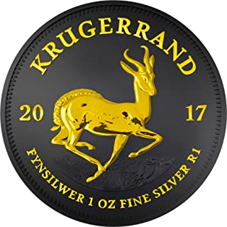 2017 ZA Modern Commemorative PowerCoin KRUGERRAND Black Ruthenium 1 Oz Silver Coin 1 Rand South Africa 2017 BU Brilliant Uncirculated