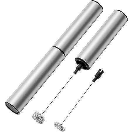 ミルク泡立て器 密閉保管 フルメタルミルクフォーマー 泡立て器 小型 フォーマ 電動泡立て器 USB充電式 2段階スビード調節 カプチーノ カフェラテ ふわふわ 銀