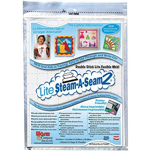 "Warm Company Steam-A-Seam 5417 Lite 2 Double Stick Fusible Web 9""X12"" Sheets 5/Pkg"