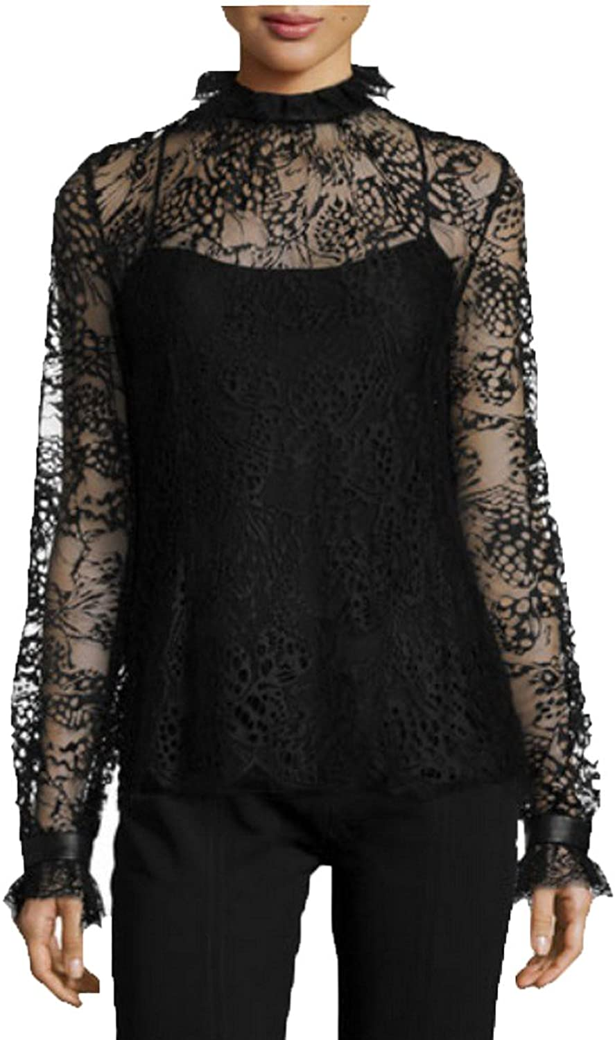 Angel&Lily Lace Turtleneck Scalloped Cuffs Party top Blouse Plus 1x10x