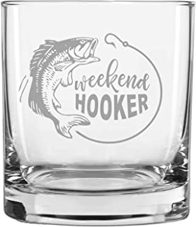 Laser Etchpressions Funny Fisherman Gift for Men Engraved Rocks Glass | Great Gift for Dad | Grandpa | Husband | Son | Friend Weekend Hooker Whiskey