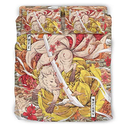 Wandlovers 4 Stück Bettbezug Set Japanisch Kitsune Fuchs Schwert Blumen Druck Superweich Bettdecken Set Bettbezug Flachbetttuch Kissenbezüge Komfortgröße White 228x228cm