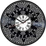 ZZLLL Reloj de Pared de Vinilo con símbolo Celta, Obra de Arte de 12 Pulgadas, decoración única para habitación, Regalo Hecho a Mano