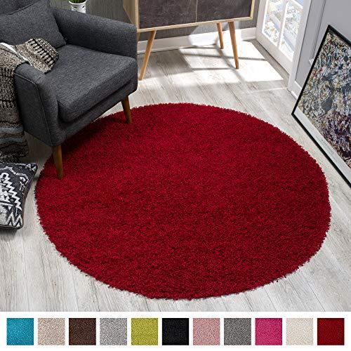 SANAT Teppich Rund - Rot Hochflor, Langflor Modern Teppiche fürs Wohnzimmer, Schlafzimmer, Esszimmer oder Kinderzimmer, Größe: 120x120 cm