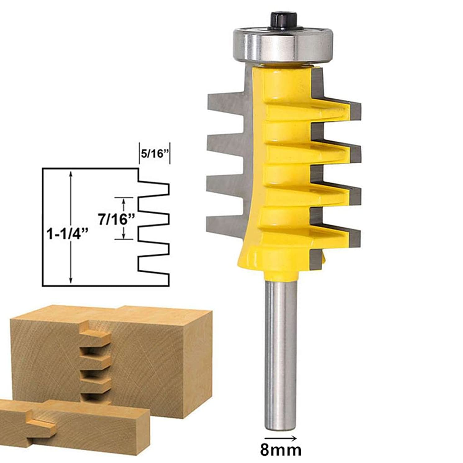 SZHR 8mm Shank Rail Reversible Finger Joint Glue Router Bit Cone Tenon Milling Cutters for Carpenter Woodworking Tools