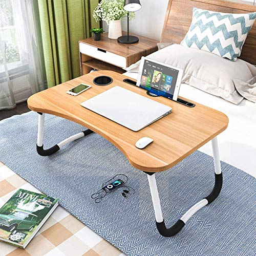 A M Accessories Laptop Bed Table Portable Lap Desk Notebook Stand Reading Holder Notebook Table Dorm Desk with Foldable Legs & Cup Slot for Eating Breakfast Reading Watching Movie on Bed/Sofa (Slotted Wood)