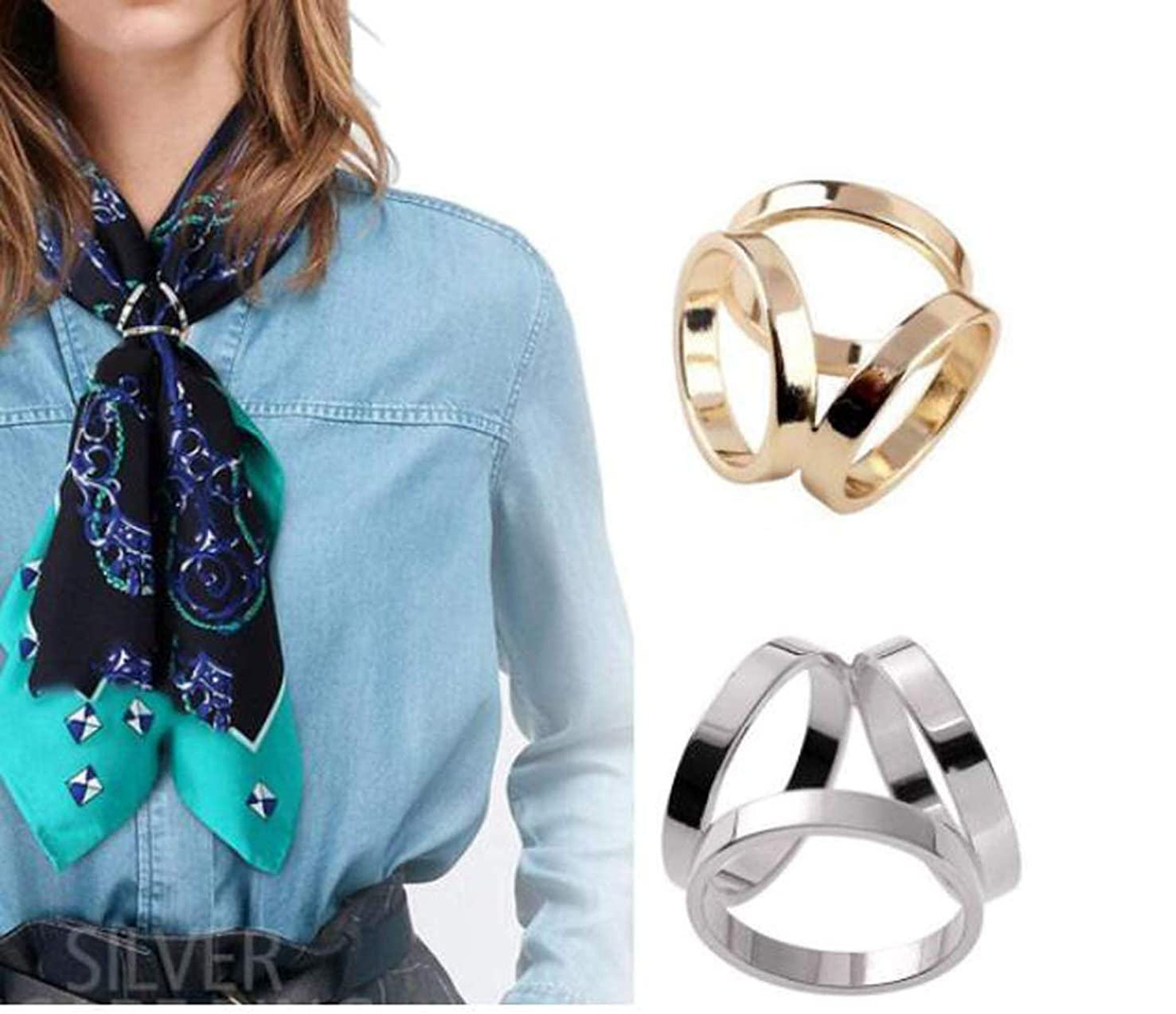 2PCS Women Lady Girls Simple Fashion Three Rings Scarves Buckle Scarf Clip Scarf Ring Wrap Holder Clamp Silk Sarf Clasp for Clothing Neckerchief Shawl Golden Silver Set