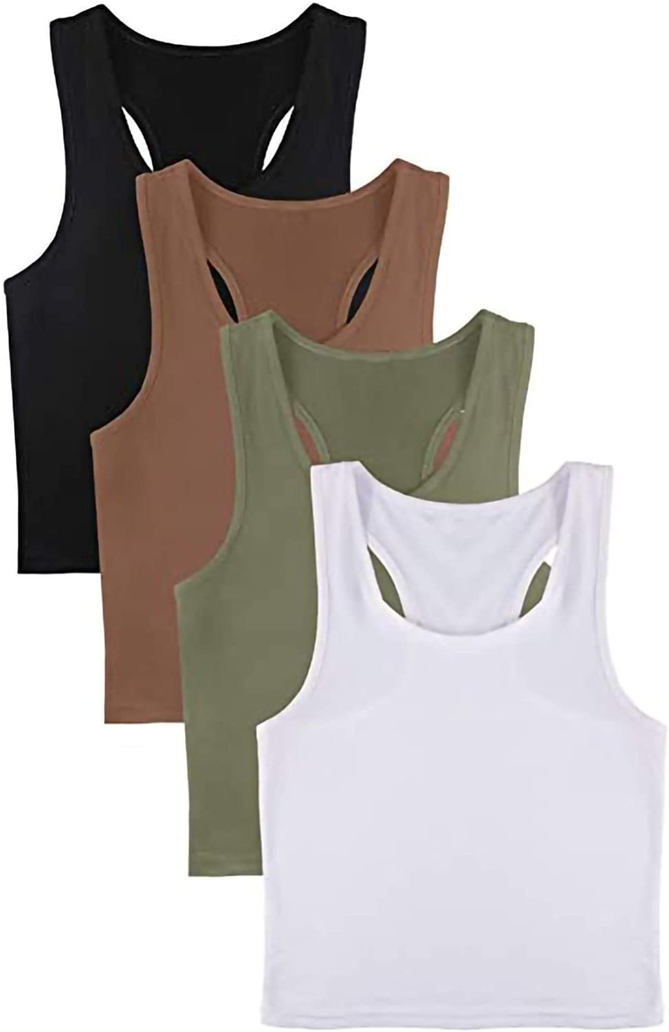 4 Pack Womens Longline Sports Bra Padded Crop Tank Tops Workout Yoga Bra with Removable Pads