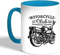 Motorcycle Printed Coffee Mug, Turquoise Color