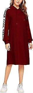 SweatyRocks Women's Casual Long Sleeve Letter Print Side Hoodie Sweatshirt Dress