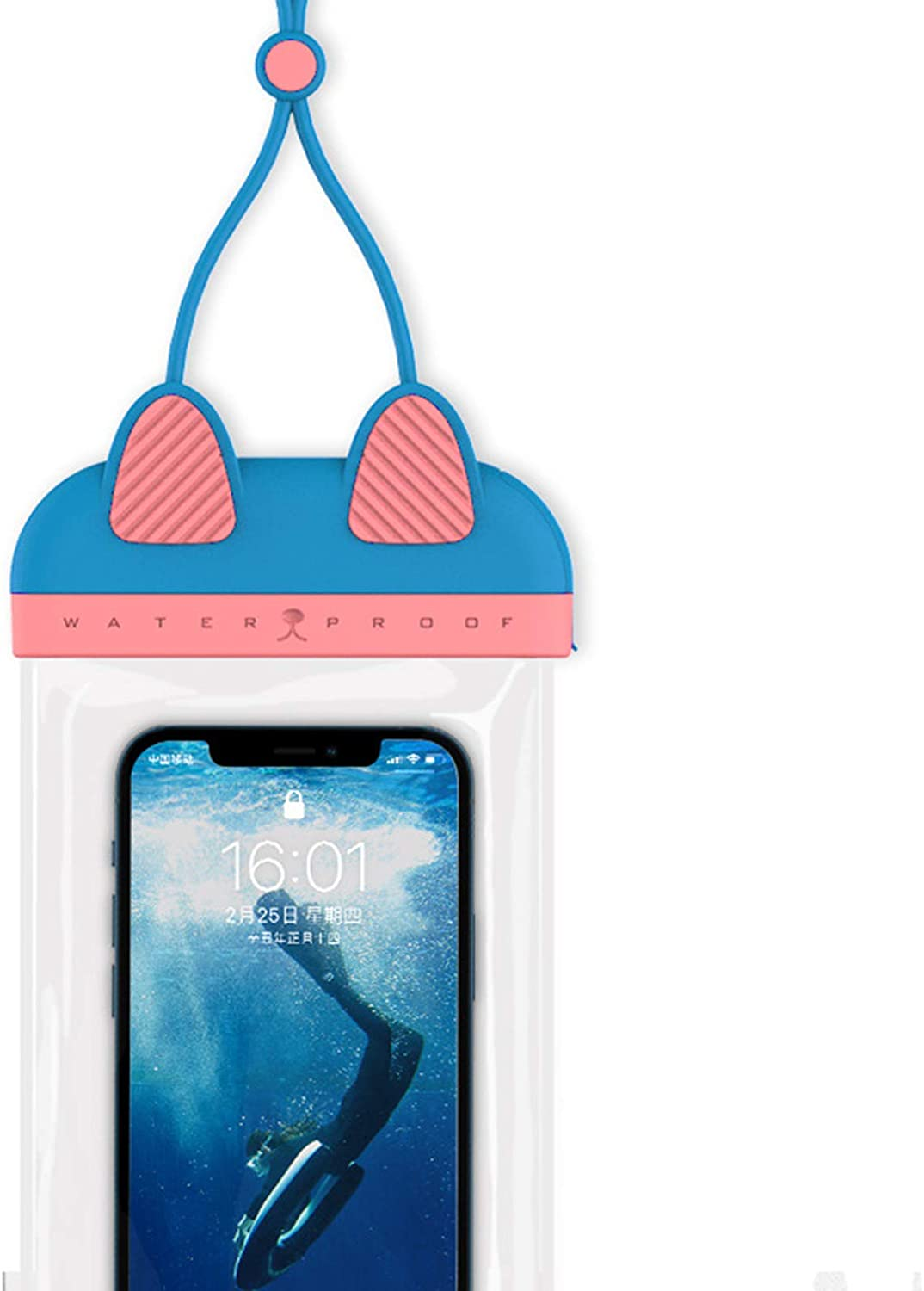 SIZHINAI Universal Waterproof Pouch, with Neck Strap Cellphone Dry Bag Cute Cat Ears Design Case Bundle Universal Floating Waterproof Phone Pouch for Water Sports
