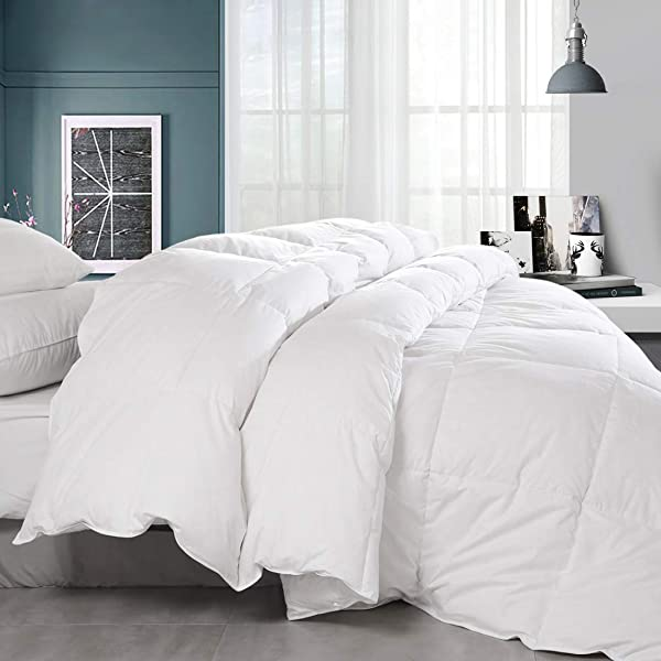 BALICHUN Premium Goose Down Comforter King Solid White Soft 1500 Thread Count Cotton Shell 750 Fill Power Down Duvet Insert With Tabs White King