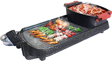 DHINGM Cookware BBQ Electric Grill Pan with Hot Pot 2 in 1, Indoor/Outdoor 1350 Watts Electric Oven/Teppanyaki Electric Grill/Hot Pot