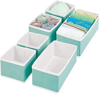 mDesign boîte de Rangement pour Armoire ou Commode – bacs de Rangement de Tailles différentes en Fibre synthétique – Organ...
