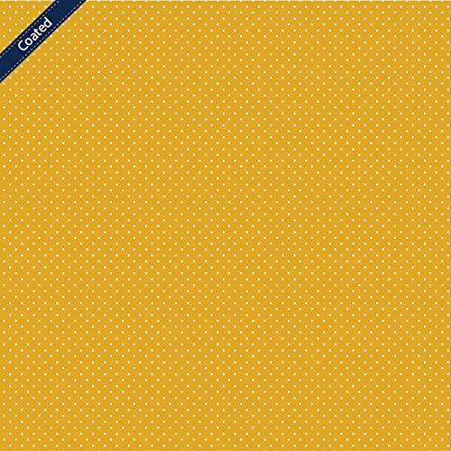 Stoff Meterware Punkte 2 mm - 1 Meter - Beschichtet, Wasserdicht & Schmutzabweisend - Für Outdoor Kissen, Tischdecken, Taschen (Gelb)