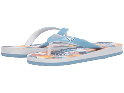 Roxy Kids Tahiti VII (Little Kid/Big Kid) (White/Blue) Girl