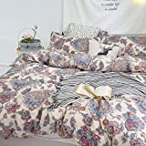 Paisley Duvet Cover Set Queen Bedding Boho Chic Mandala Pattern Printed Comforter Covers Moroccan Quilt Cover Lightweight and Soft 3 Piece 1 Duvet Cover+2 Pillow Shams Red Cream Zipper Ties