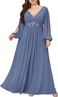 Ever-Pretty Vestito da Cerimonia Elegante Linea ad A Scollo a V Appliques Plissettato Donna Taglie Forti Abiti da Sera 00461
