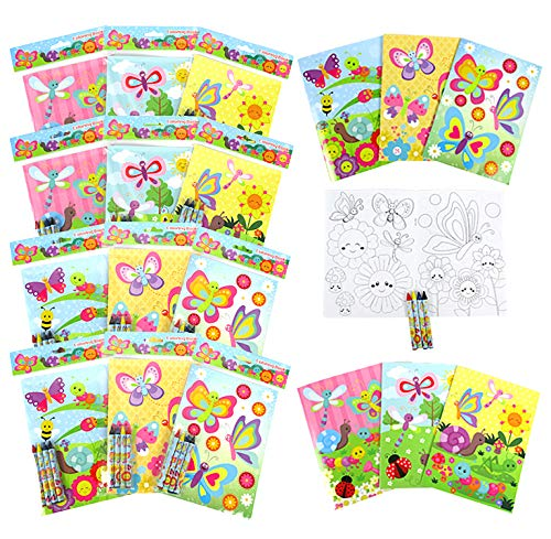 Tiny Mills Butterfly Spring Insect Coloring Books with Crayons Party Favors with 12 Coloring Books and 48 Crayons, Butterfly Party Favors, Butterfly Prizes, Favor Bag Filler Easter Basket Filler