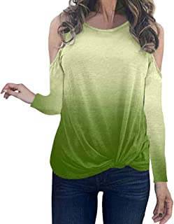 WYTong Fashion Long Sleeve Top For Women O-Neck Multicolor Knotted Sexy Shoulder T-Shirt Blouse Tops