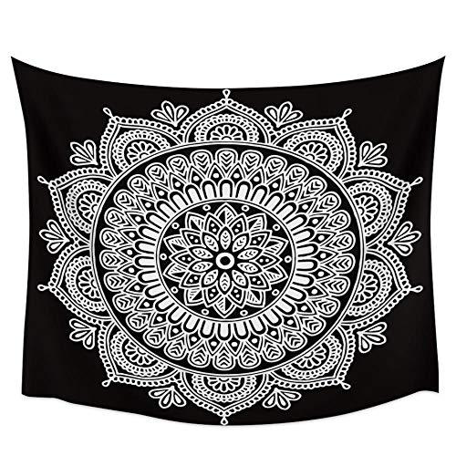 Mandala tapiz de pared de flores blancas decoración de la pared del hogar tapiz de dormitorio tapiz colgante de pared estera de Yoga estera de Picnic 150X200CM