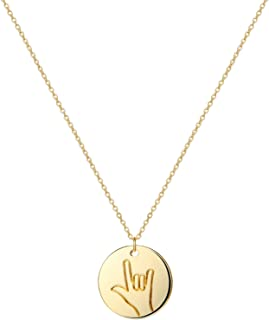 Hand Gestures Pendant Necklace 14K Gold Plated Personalized Disk Friendship Cute Necklace for Women